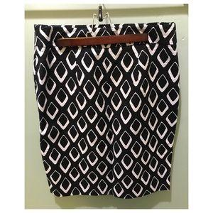 Ann Taylor Black and White Diamond Pencil Skirt